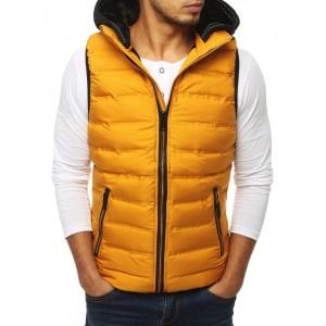 Sportovní pánská prošívaná vesta žluté barvy