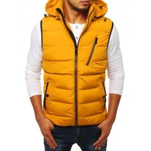 Prošívaná pánská sportovní vesta žluté barvy