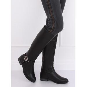 Dámské černé kozačky pod kolena na nízkém podpatku