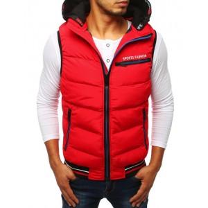 Červená pánská sportovní vesta s černou kapucí