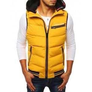 Stylová pánská vesta žluté barvy s kapucí