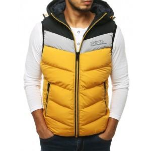 Žlutá pánská sportovní vesta s kapucí