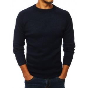 Pánský svetr s ozdobnými záplatami na loktech tmavě modré barvy