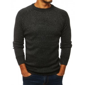 Klasický tmavě šedý pánský svetr s kulatým výstřihem