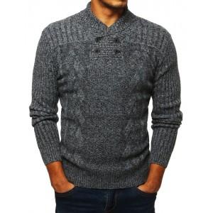 Světle šedý pánský svetr s vysokým límcem
