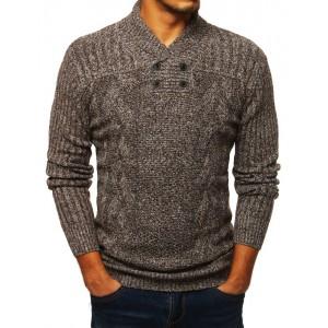 Pletený pánský svetr s vysokým límcem hnědé barvy