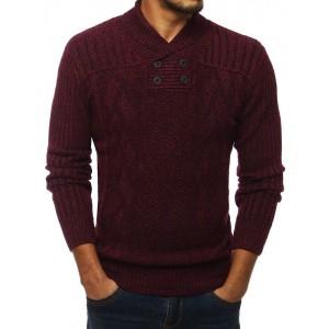 Bordový pánský pletený svetr s vysokým límcem na knoflíky