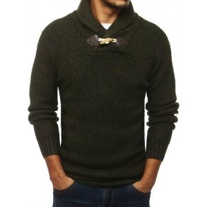 Pánský pletený svetr s vysokým límcem v khaki barvě