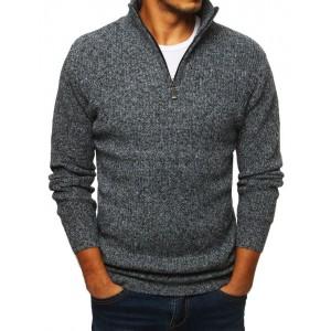 Šedý pánský svetr s vysokým límcem na zip