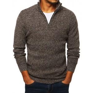 Hnědý pletený svetr s vysokým límcem pro pány