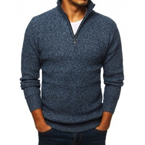 Módní pánský svetr s vysokým límcem na zip modré barvy