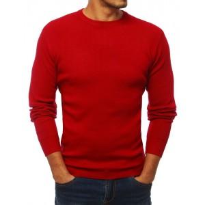 Klasický pánský pulovr s kulatým výstřihem červené barvy