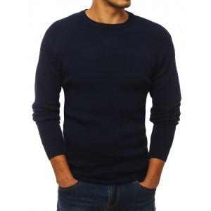 Tmavě modrý svetr s kulatým výstřihem pro pány