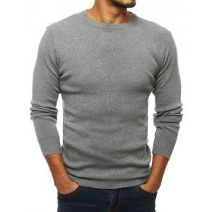 Světle šedý pánský pulovr s kulatým výstřihem