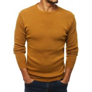 Klasický žlutý svetr s kulatým výstřihem pro pány
