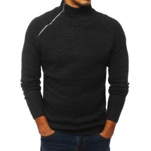 Tmavě šedý svetr s vysokým límcem na zip pro pány