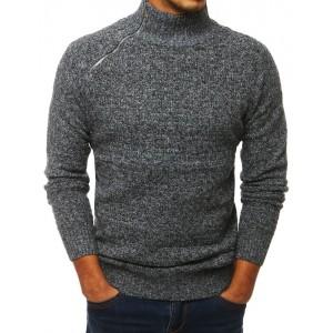 Šedý pánský svetr se zipem na límci