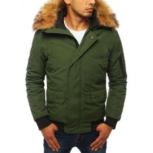 Pánská zimní bunda s kožešinou a kapsou na rukávu