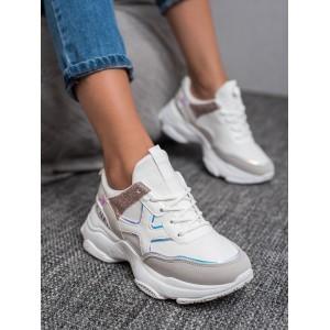 Dámské sportovní boty na vázání v bílé barvě