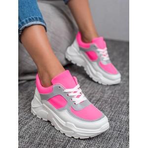 Růžové dámské kotníkové tenisky na platformě