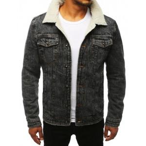 Pánská zateplená riflová bunda šedé barvy se zapínáním na knoflíky