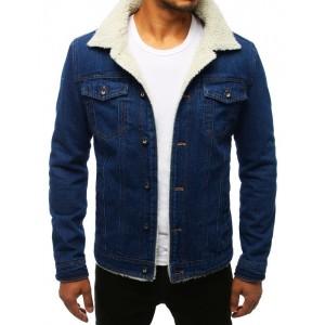 Zateplená pánská riflová bunda tmavě modré barvy