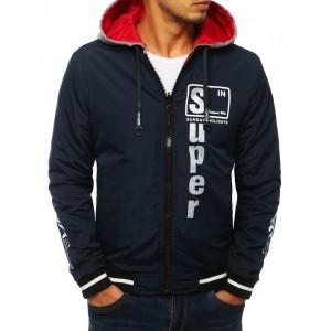 Tmavě modrá oboustranná bunda s kapucí pro pány