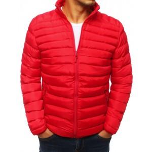 Trendová pánská přechodná bunda s elegantním prošíváním červené barvy