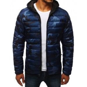 Pánská přechodná bunda s maskáčovým vzorem modré barvy