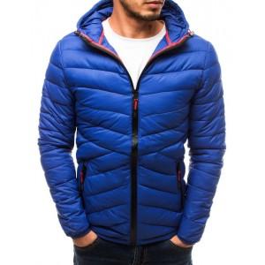 Modrá prošívaná bunda na podzim s kapucí