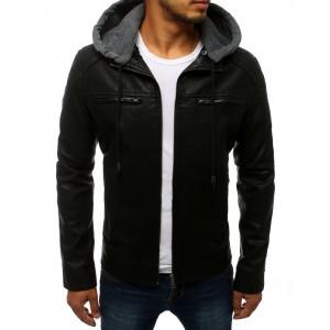 Černá pánská kožená bunda s odnímatelnou kapucí