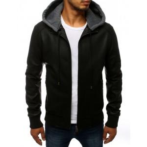 Pánská přechodná kožená bunda černé barvy s kapucí