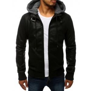Trendová kožená bunda na zip se zapínáním na límci