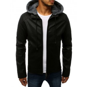 Pánská kožená bunda černé barvy na podzim