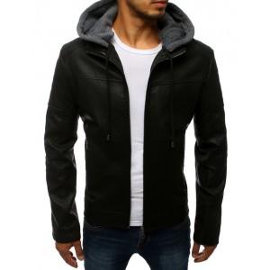 Černá kožená bunda s odnímatelnou kapucí pro pány
