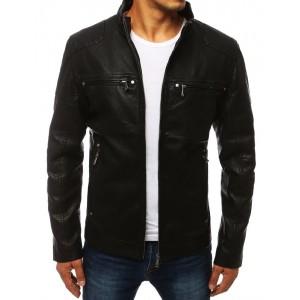 Stylová pánská kožená bunda bez kapuce černé barvy