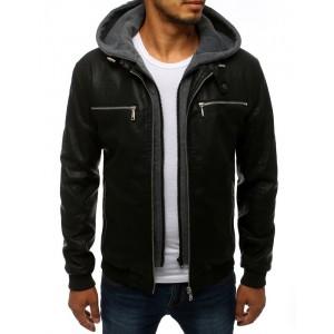 Přechodná kožená bunda s kapucí černé barvy