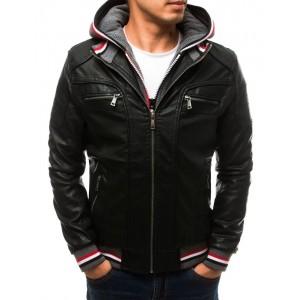Pánská koženka černé barvy s kapucí a podšívkou
