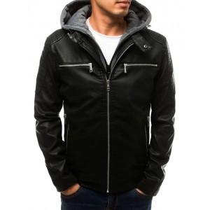 Černá pánská kožená bunda s kapucí a náprsními kapsami