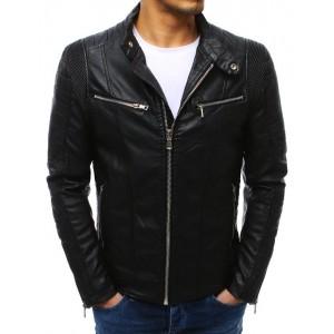 Stylová pánská kožená bunda bez kapuce na podzim