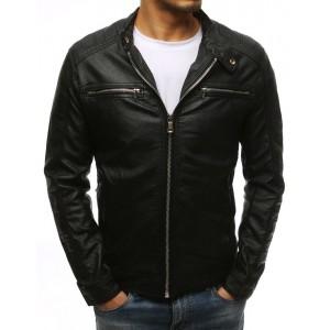 Klasická pánská kožená bunda bez kapuce černé barvy
