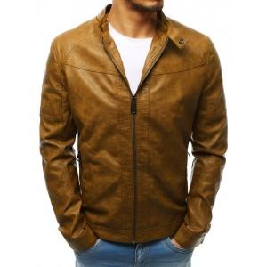 Světle hnědá pánská kožená bunda s odnímatelnou kapucí
