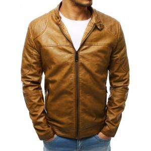 Pánská kožená bunda s odnímatelnou kapucí hnědé barvy
