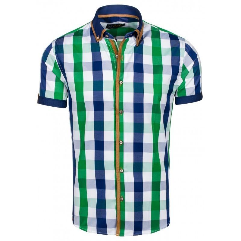 77f8accf9d5 Pánská károvaná košile s krátkým rukávem zelené barvy - manozo.cz