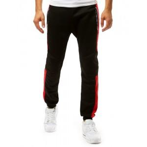 Černé pánské sportovní tepláky s dvěma kapsami na zip