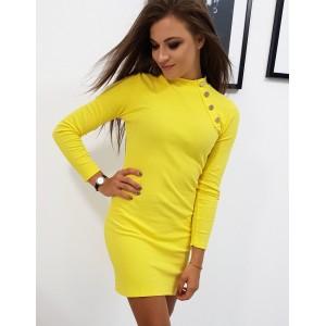 Dámské žluté obepnuté šaty s ozdobnými zlatými knoflíky