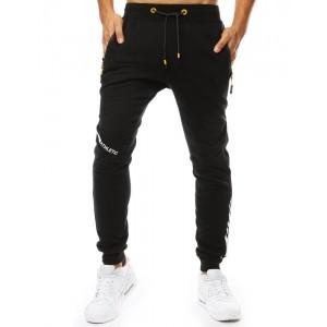 Černé pánské tepláky se dvěma kapsami na zip