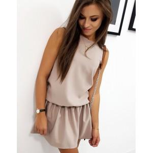 Béžové dámské šaty bez rukávů s mini sukní