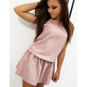 Společenské dámské mini šaty v pudrově růžové barvě