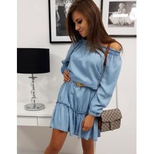 Trendy světle modré dámské šaty volného střihu s dlouhým rukávem